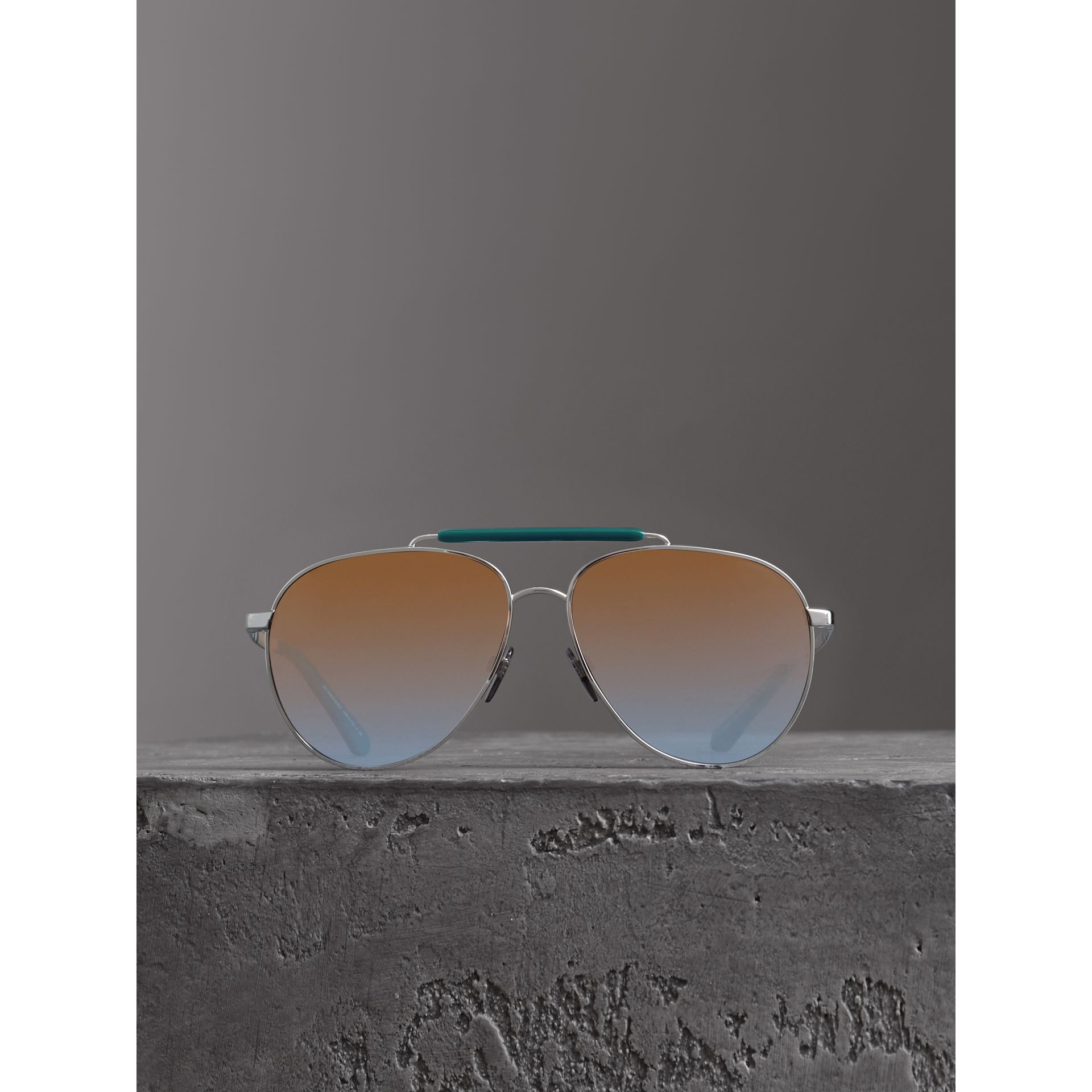 Top Bar Detail Pilot Sunglasses in Teal Blue - Men | Burberry - gallery image 2