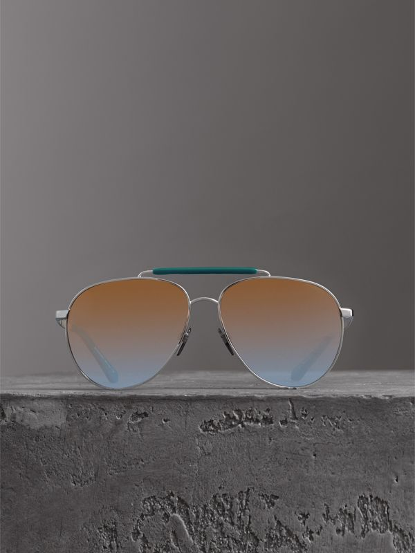 Top Bar Detail Pilot Sunglasses in Teal Blue - Men | Burberry - cell image 2