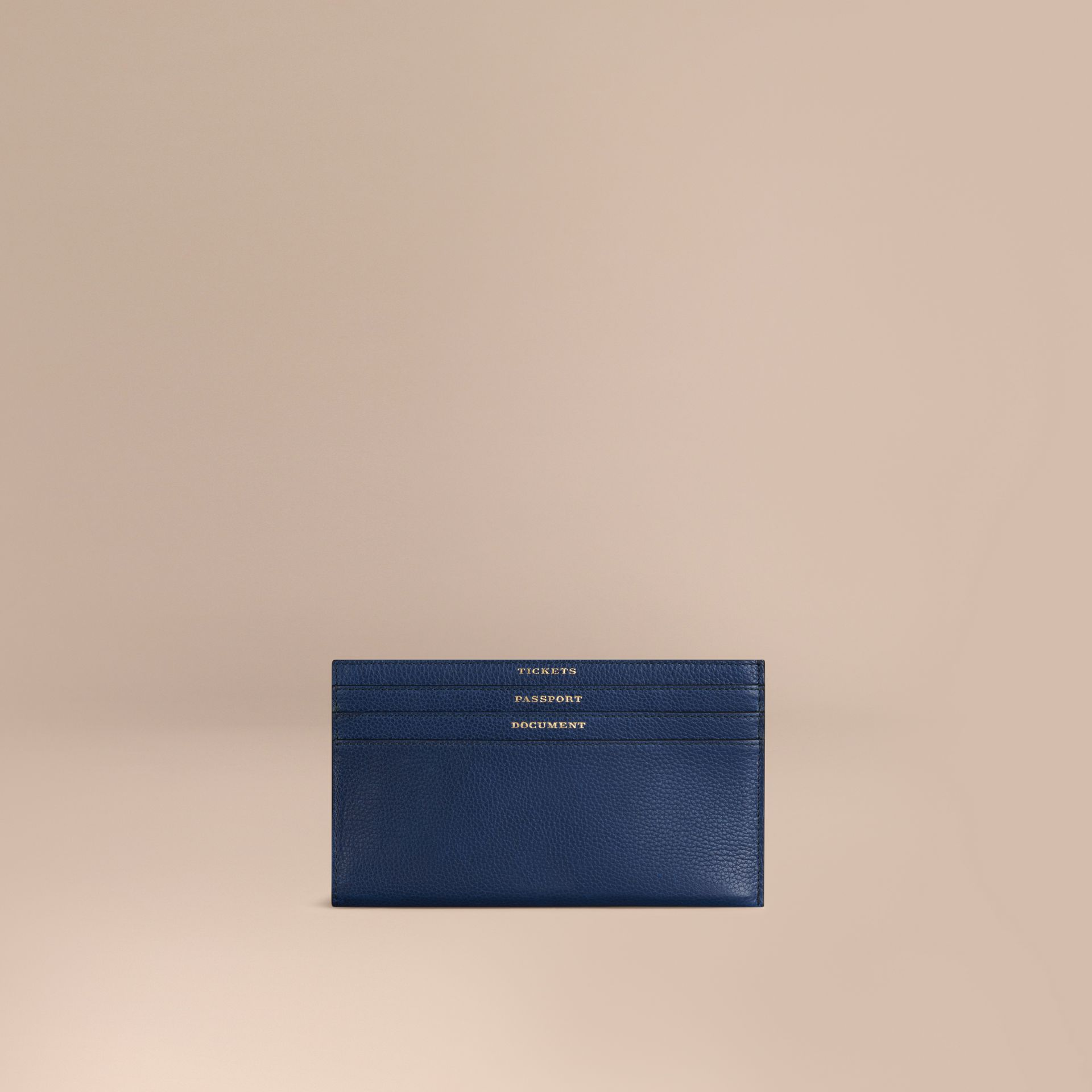 Grainy Leather Travel Case in Bright Navy - Men | Burberry - gallery image 1