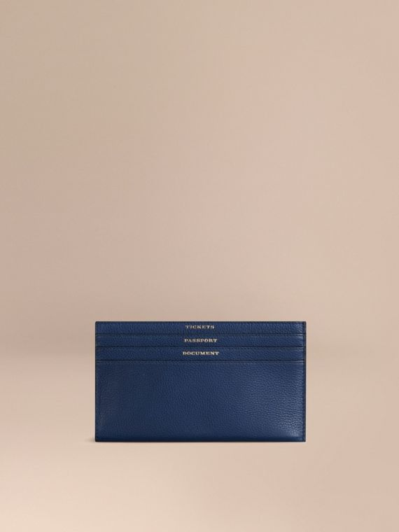 Grainy Leather Travel Case in Bright Navy - Men | Burberry Singapore
