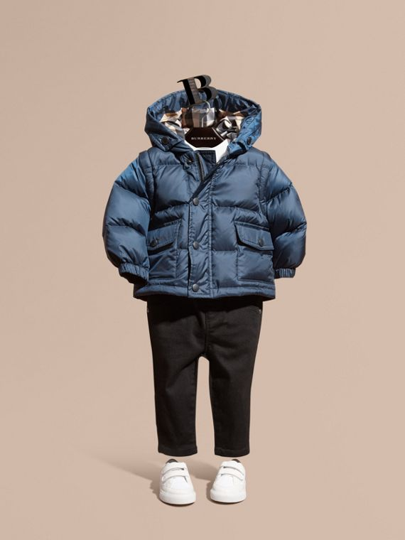 Detachable Sleeve Puffer Jacket Ink Blue