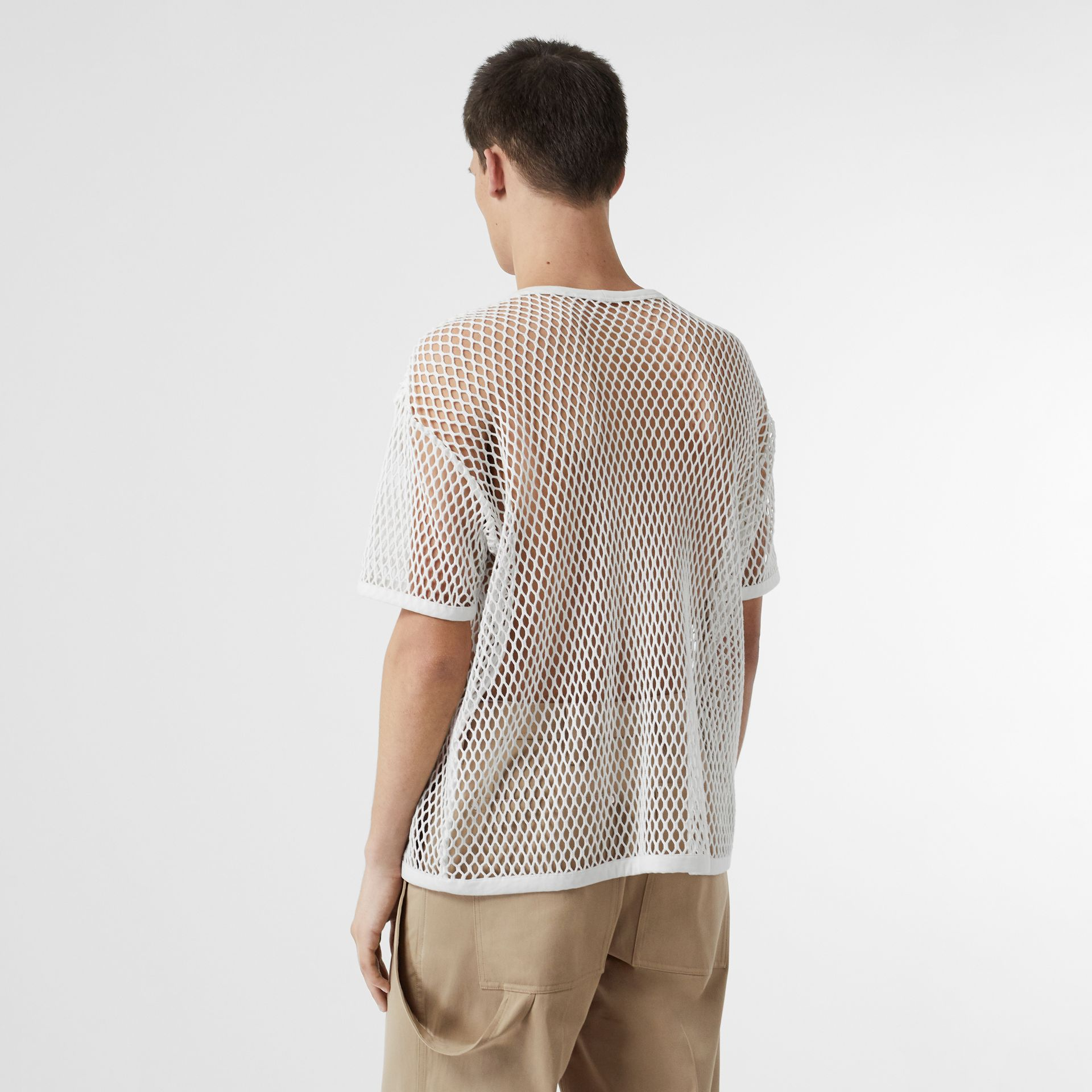 Cotton Mesh Oversized T-shirt in Optic White | Burberry Australia - gallery image 2