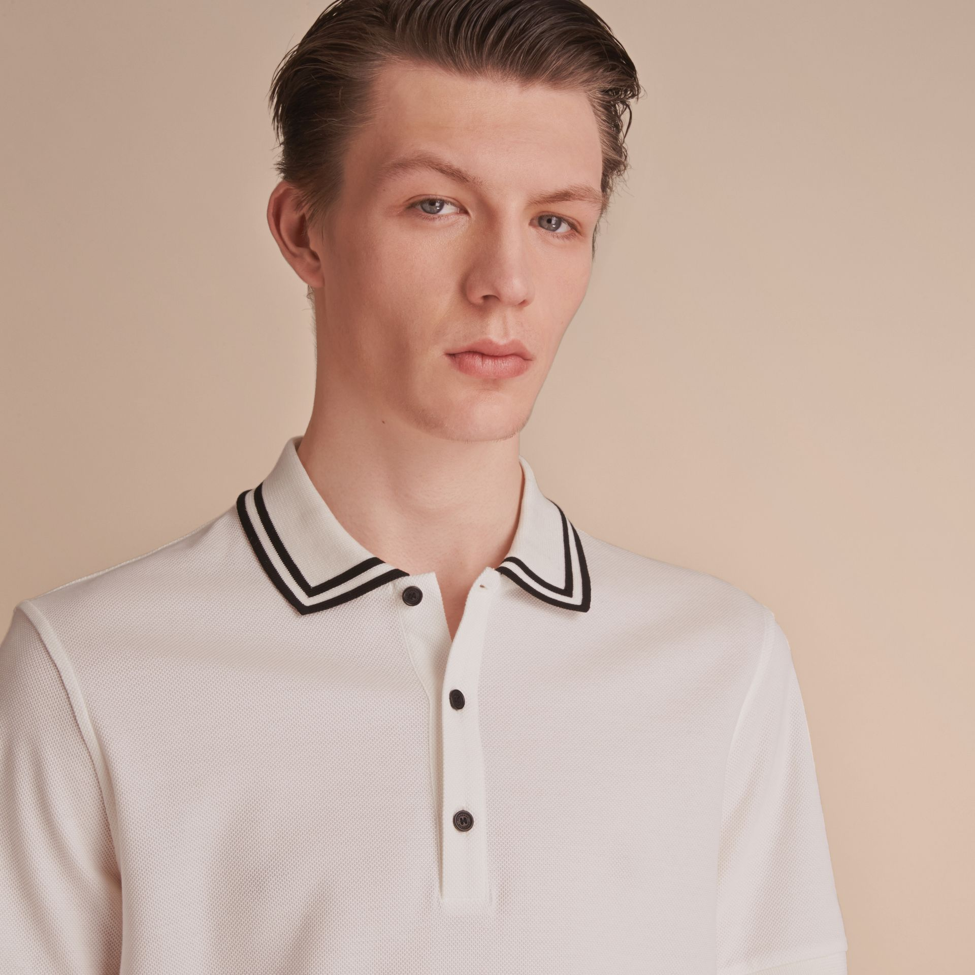 Striped Collar Cotton Piqué Polo Shirt in White - Men | Burberry - gallery image 5