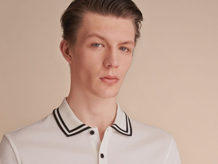 Striped Collar Cotton Piqué Polo Shirt in White - Men | Burberry - cell image 4