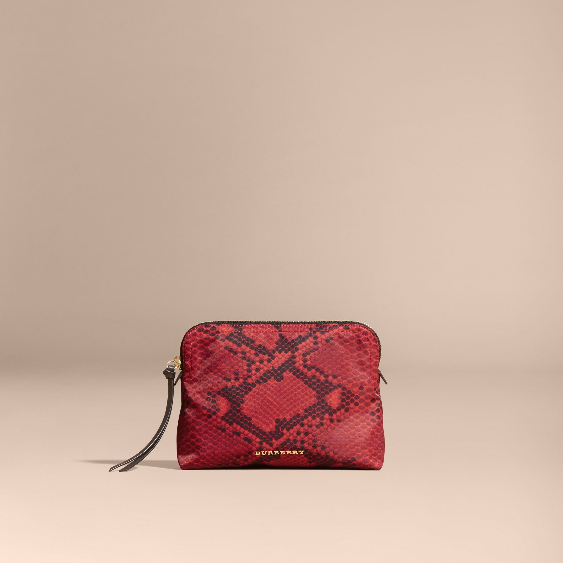 Large Zip-top Python-print Technical Nylon Pouch Burgundy Red - gallery image 7