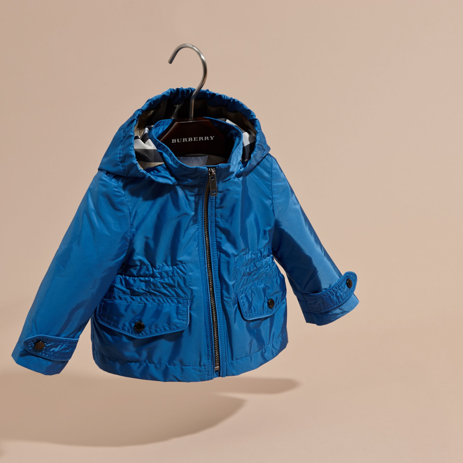 Hooded Packaway Technical Jacket in Hydrangea Blue - gallery image 3