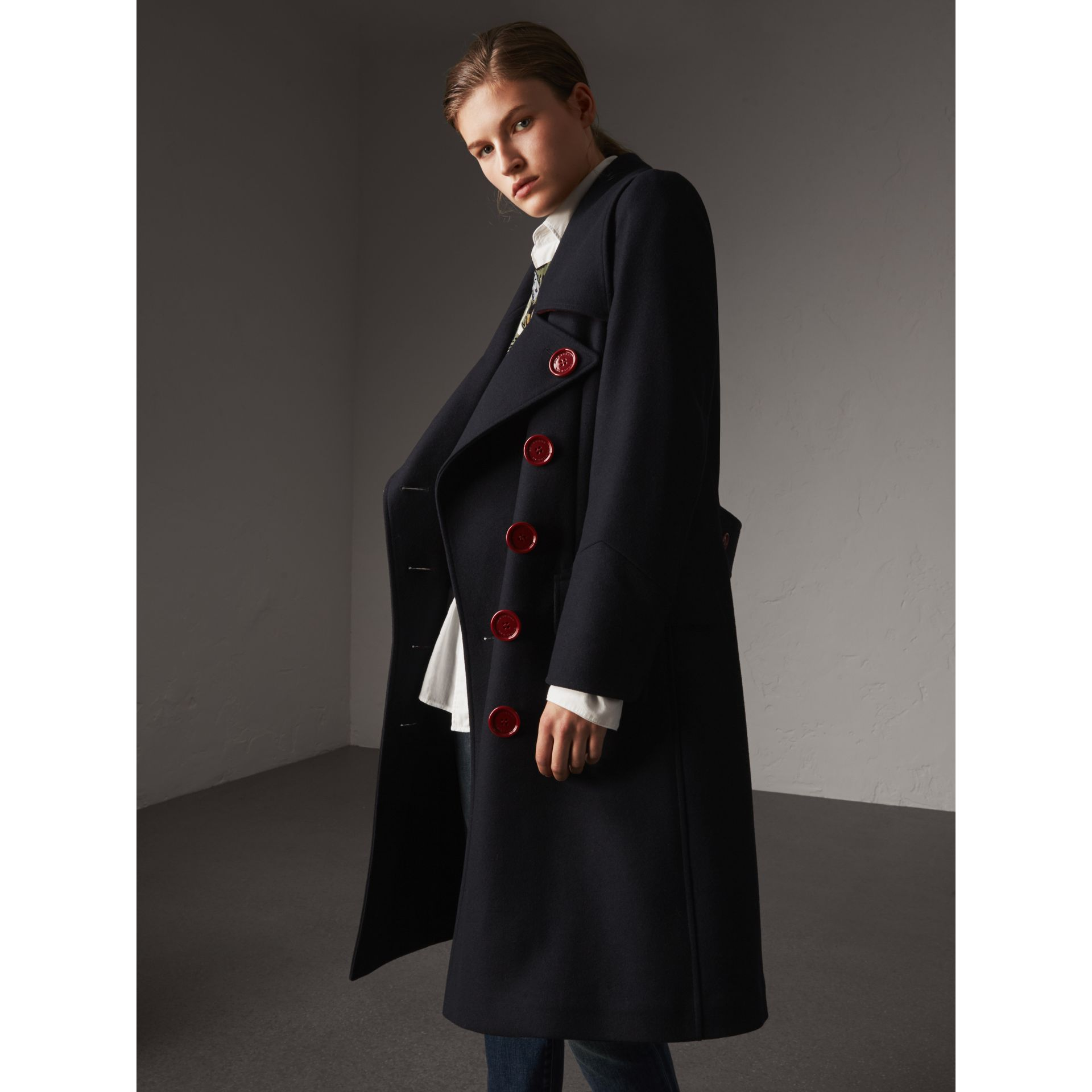 Resin Button Wool Oversize Coat in True Navy - Women | Burberry - gallery image 6