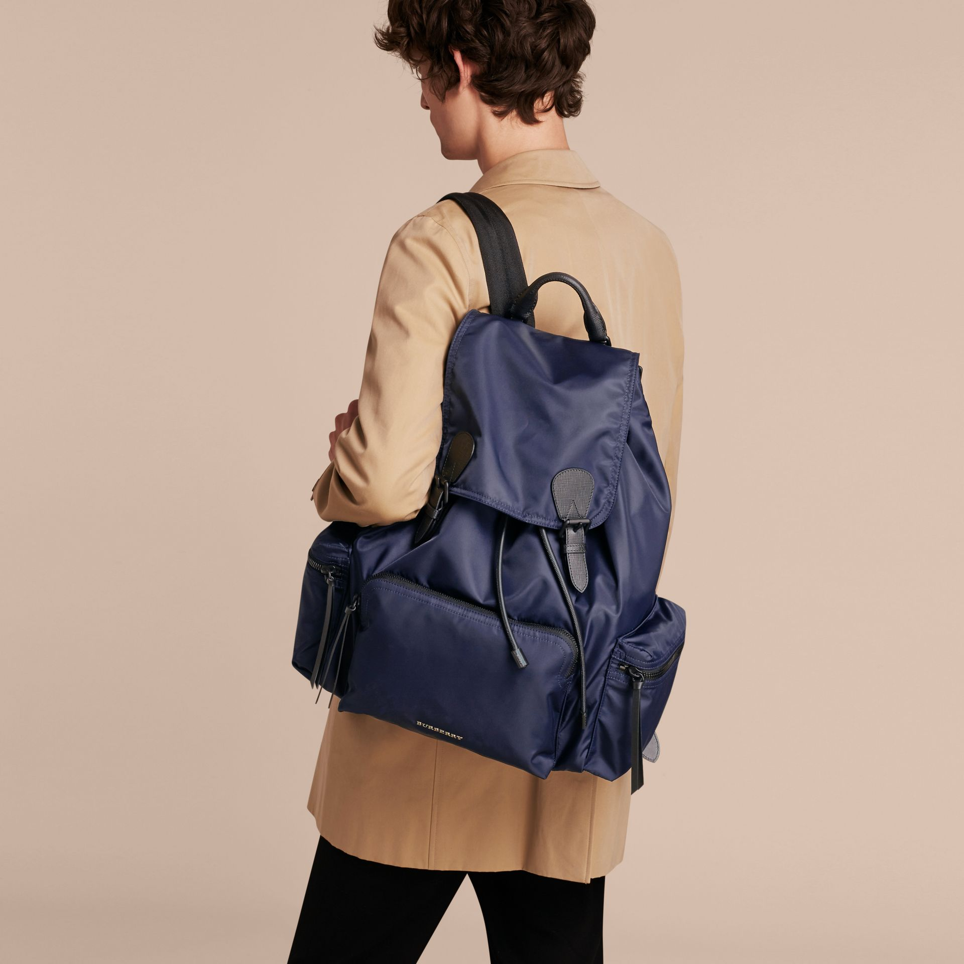 The Extra Large Rucksack in Technical Nylon and Leather in Ink Blue - Men | Burberry - gallery image 4