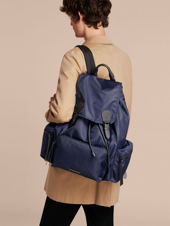The Extra Large Rucksack in Technical Nylon and Leather in Ink Blue - Men | Burberry - cell image 3