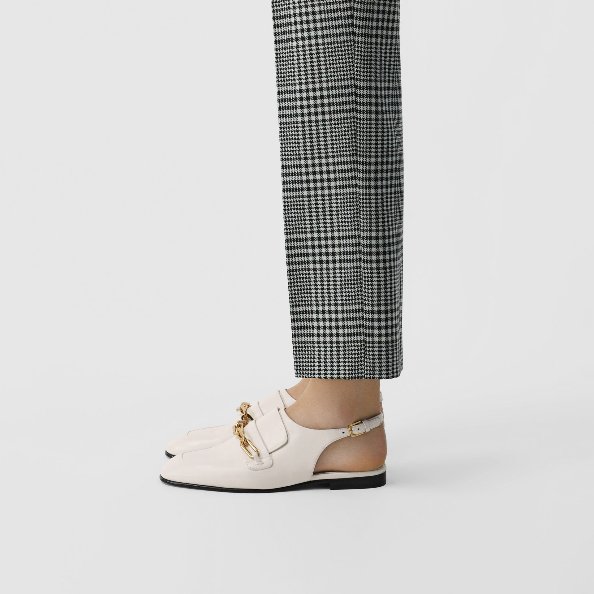 Link Detail Leather Slingback Loafers in Ash White - Women | Burberry - gallery image 2