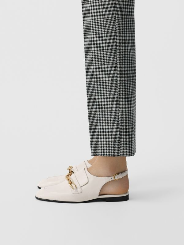 Link Detail Leather Slingback Loafers in Ash White - Women | Burberry - cell image 2
