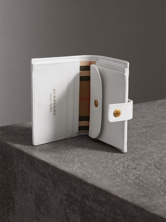 Small Vintage Check and Leather Folding Wallet in Chalk White - Women | Burberry - cell image 3