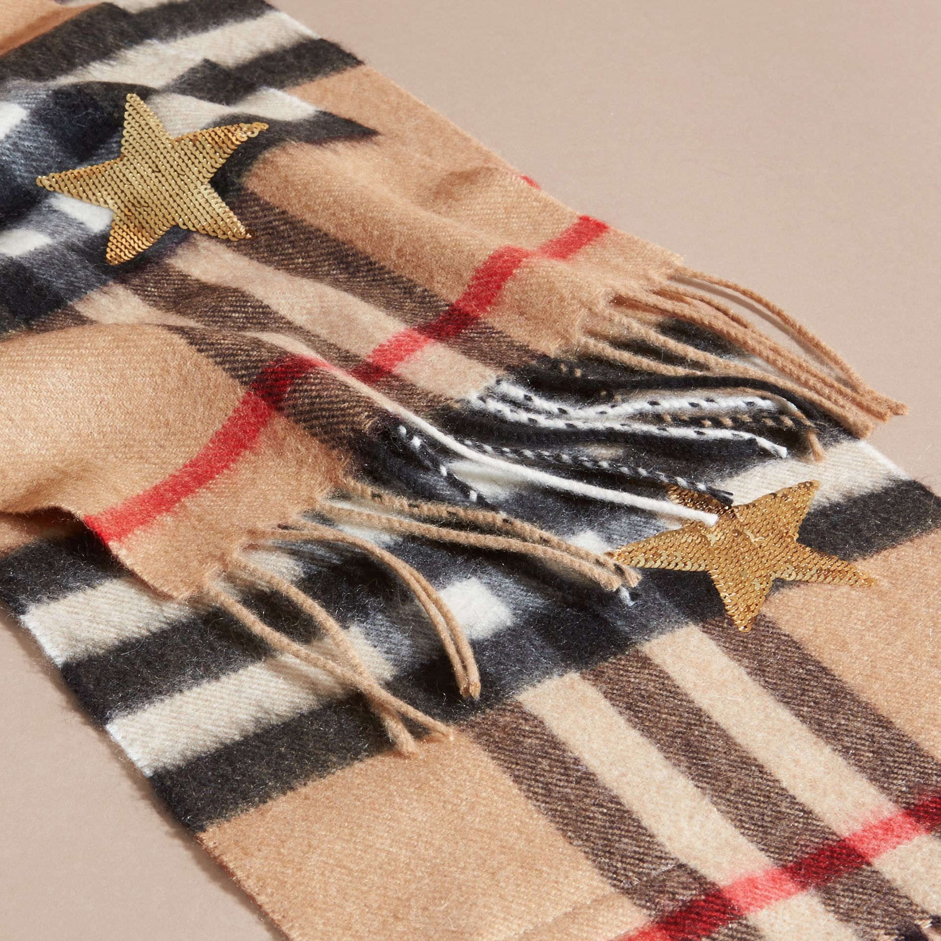 Camel/gold The Mini Classic Cashmere Scarf in Check and Sequined Stars - gallery image 2