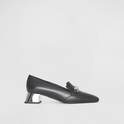 Amika Square Toe Leather Pumps in Black