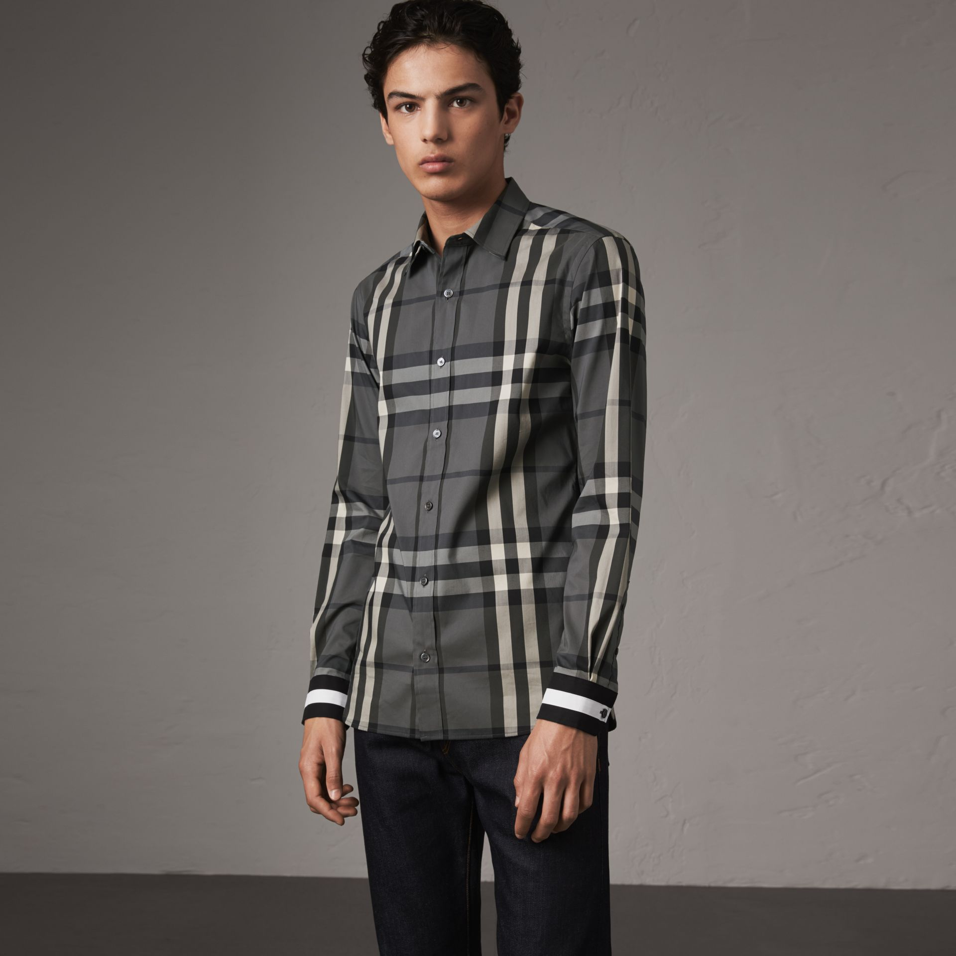 Striped Cuff Check Cotton Blend Shirt in Charcoal - Men | Burberry Singapore - gallery image 0