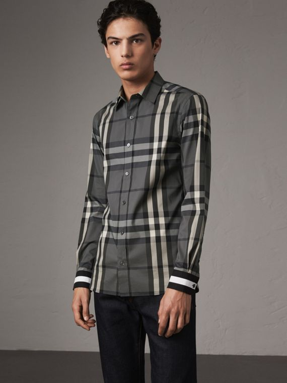 Striped Cuff Check Cotton Blend Shirt in Charcoal