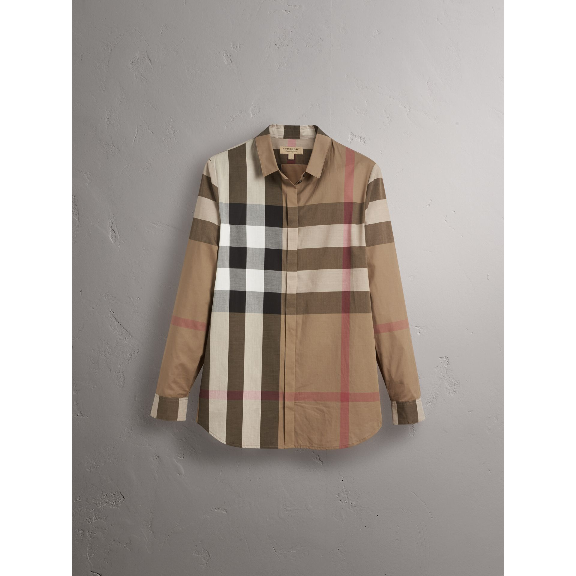 Check Cotton Shirt in Taupe Brown - Women | Burberry Canada - gallery image 3