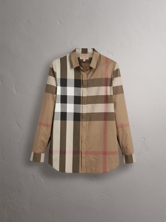 Check Cotton Shirt in Taupe Brown - Women | Burberry - cell image 3