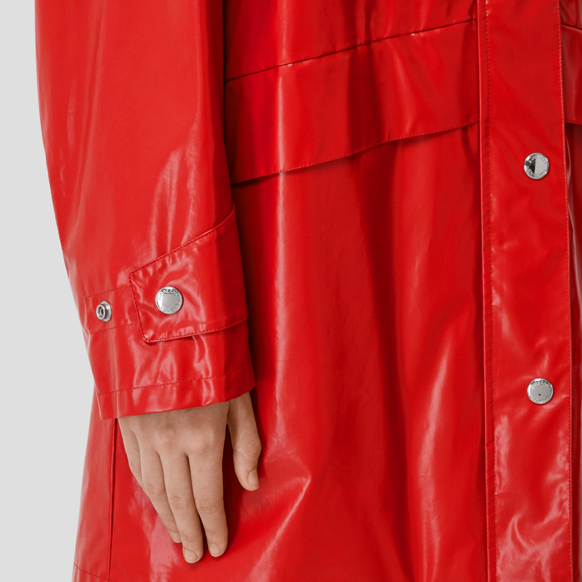 Horseferry Print Coated Jersey Parka in Bright Red - Women | Burberry - gallery image 4