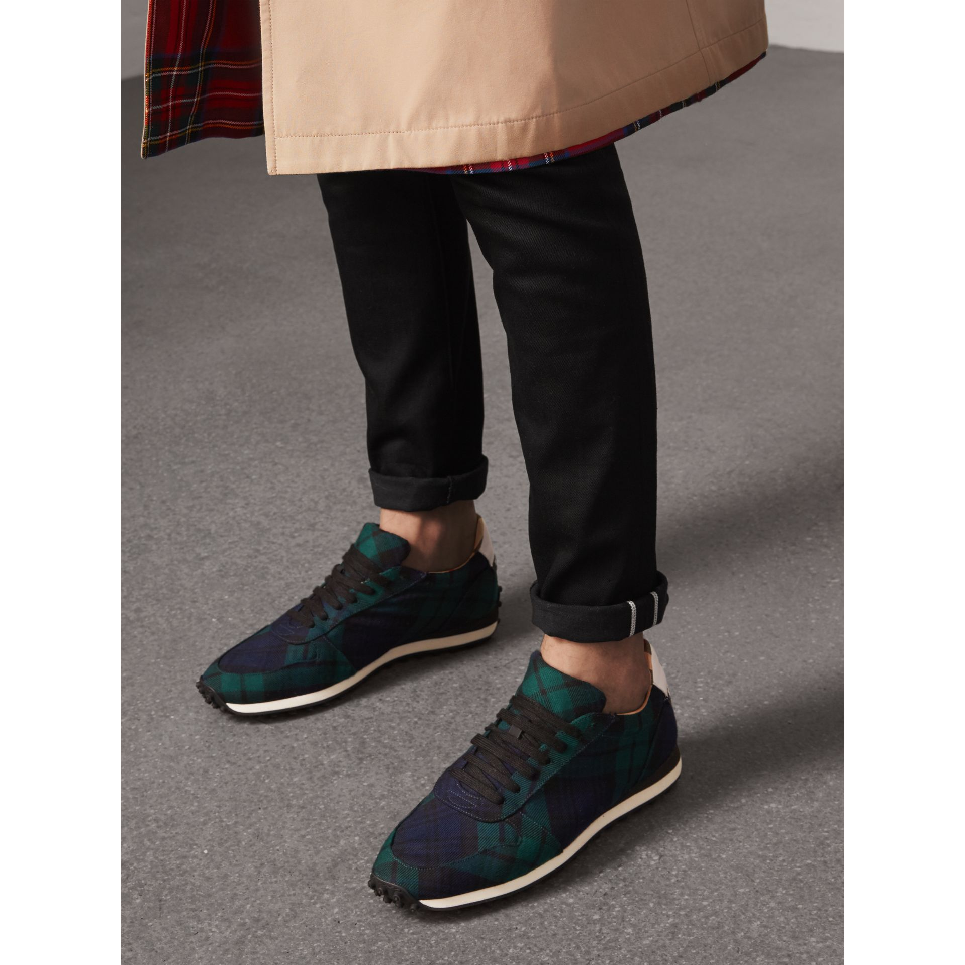 Tartan Wool Sneakers in Ink Blue - Men | Burberry - gallery image 2