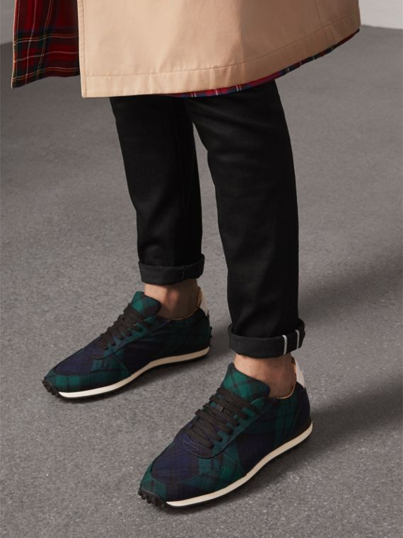 Tartan Wool Trainers in Ink Blue - Men | Burberry - cell image 2