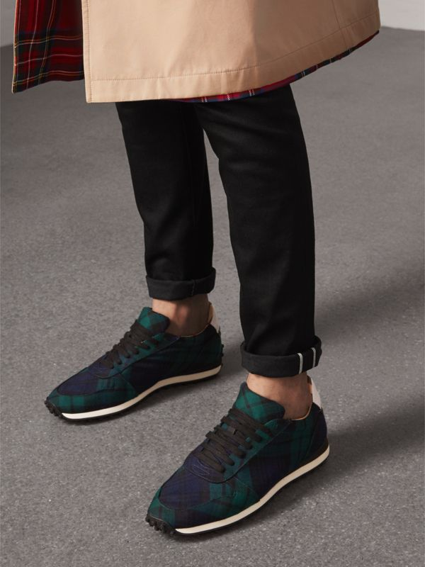 Tartan Wool Sneakers in Ink Blue - Men | Burberry - cell image 2