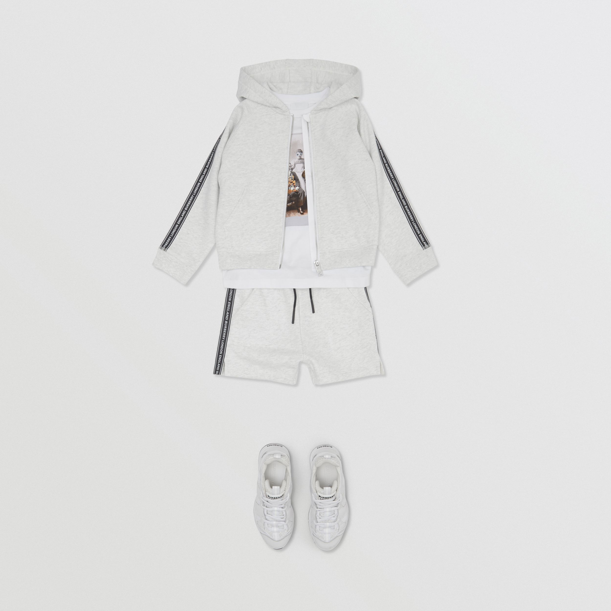 Logo Tape Cotton Drawcord Shorts in White Melange | Burberry - 3