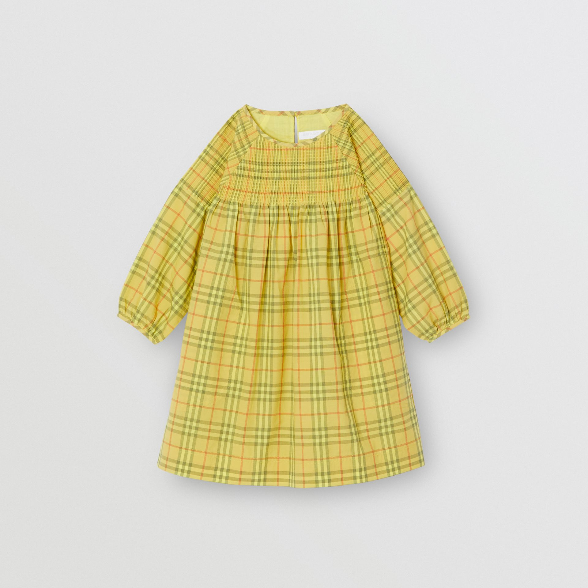 Smocked Check Cotton Dress in Citrus Yellow - Children | Burberry - gallery image 0
