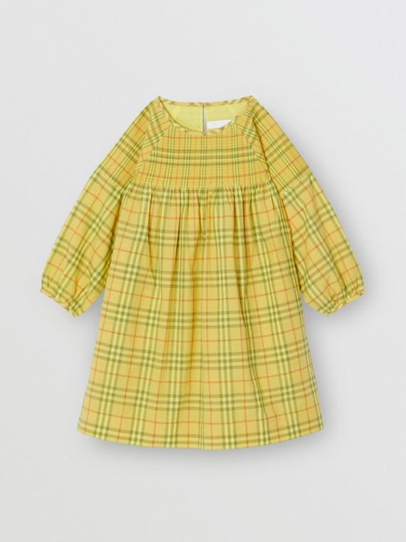 Smocked Check Cotton Dress in Citrus Yellow