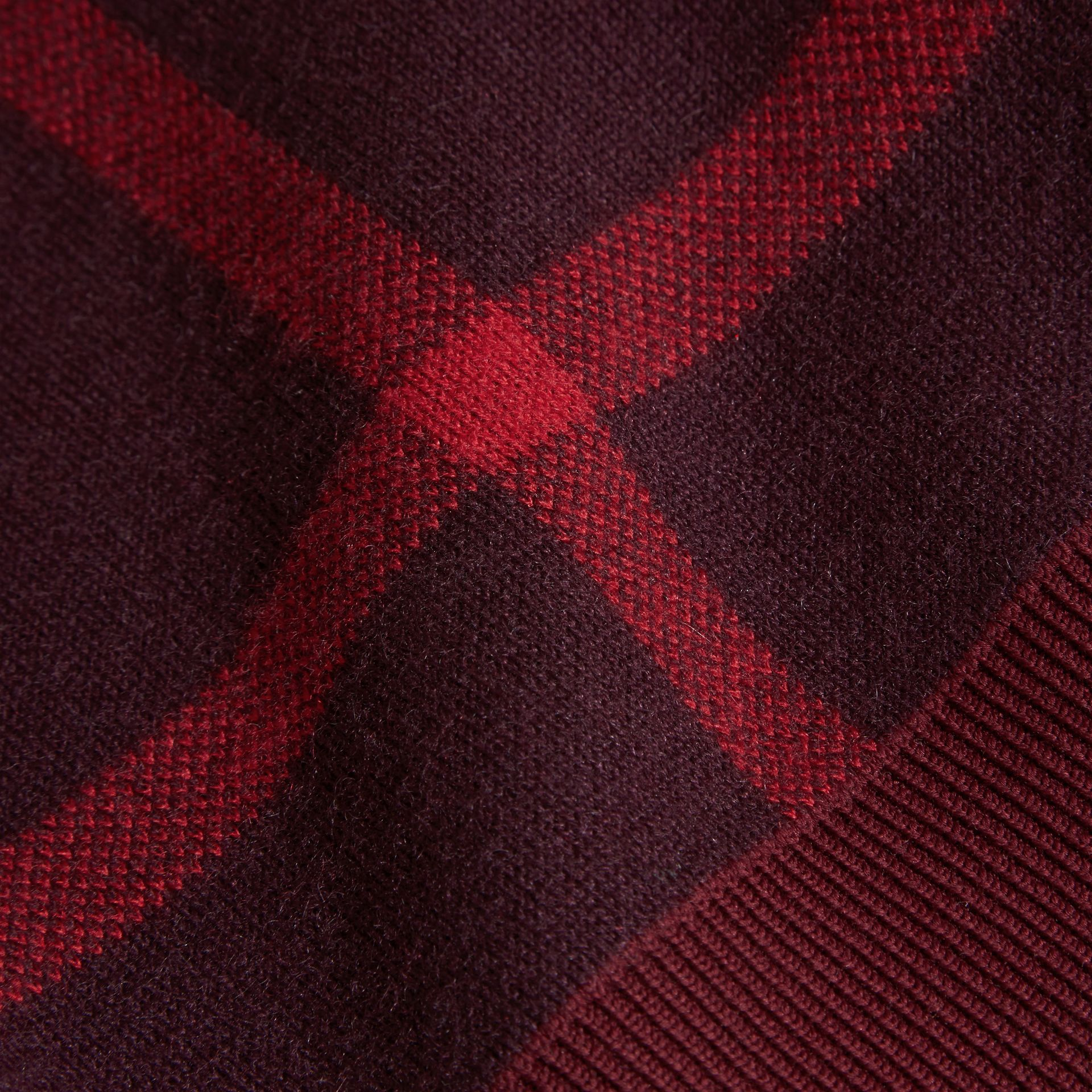 Deep claret Check Wool Cashmere Blend Sweater Deep Claret - gallery image 2