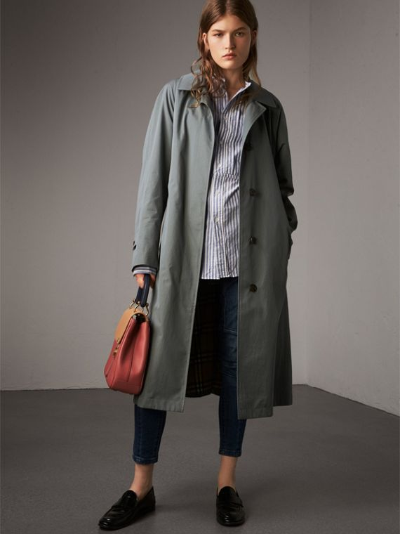 The Brighton – Longline Car Coat in Dusty Blue - Women | Burberry