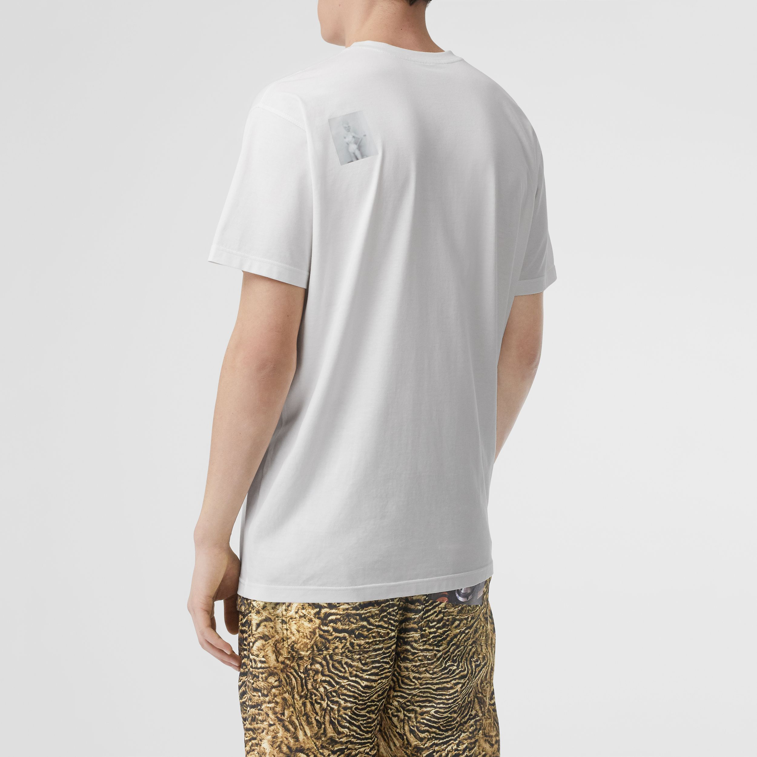 Montage Print Cotton Oversized T-shirt in Optic White - Men | Burberry Singapore - 3