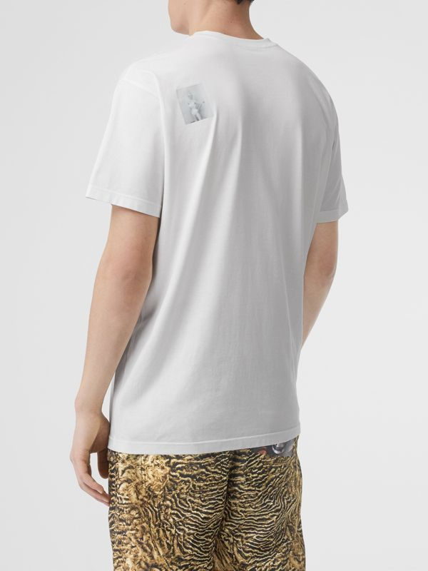 Montage Print Cotton Oversized T-shirt in Optic White | Burberry - cell image 2