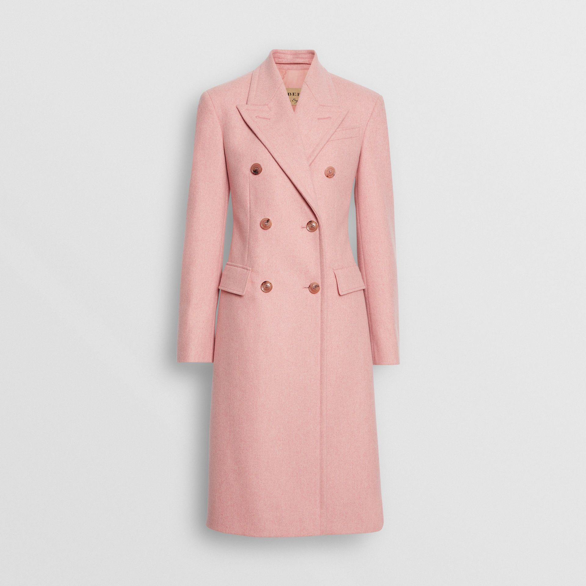 Double-breasted Wool Tailored Coat in Apricot Pink Melange - Women | Burberry United Kingdom - gallery image 3