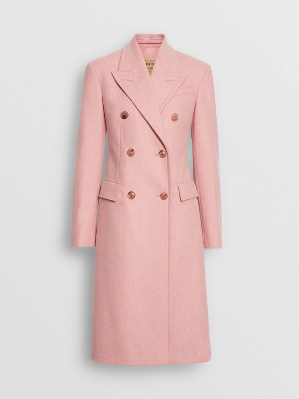 Double-breasted Wool Tailored Coat in Apricot Pink Melange - Women | Burberry - cell image 3