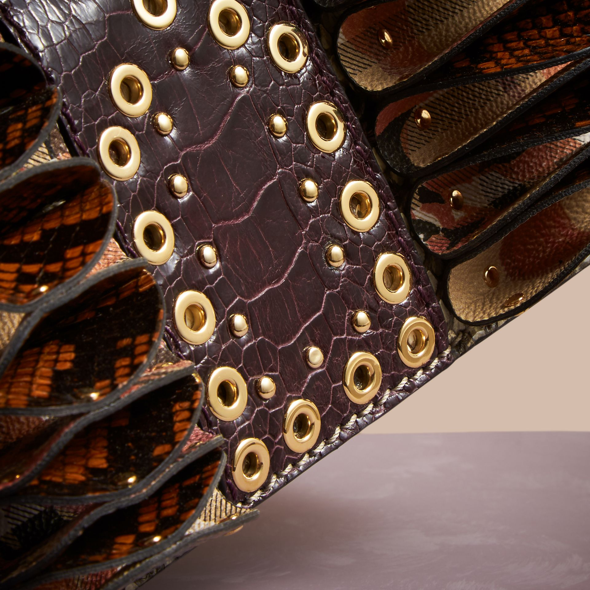 The Ruffle Buckle Bag in Snakeskin, Ostrich and Check Natural - gallery image 2