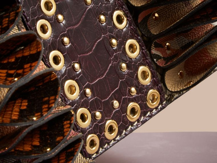 The Ruffle Buckle Bag in Snakeskin, Ostrich and Check Natural - cell image 1