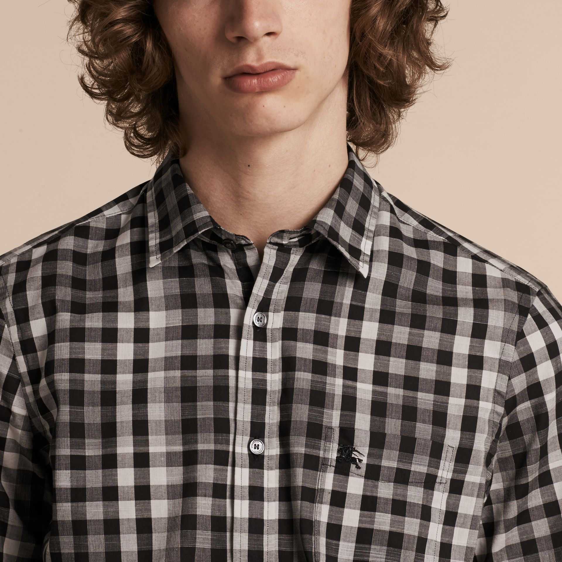 Black Short-sleeved Gingham Cotton Shirt Black - gallery image 5