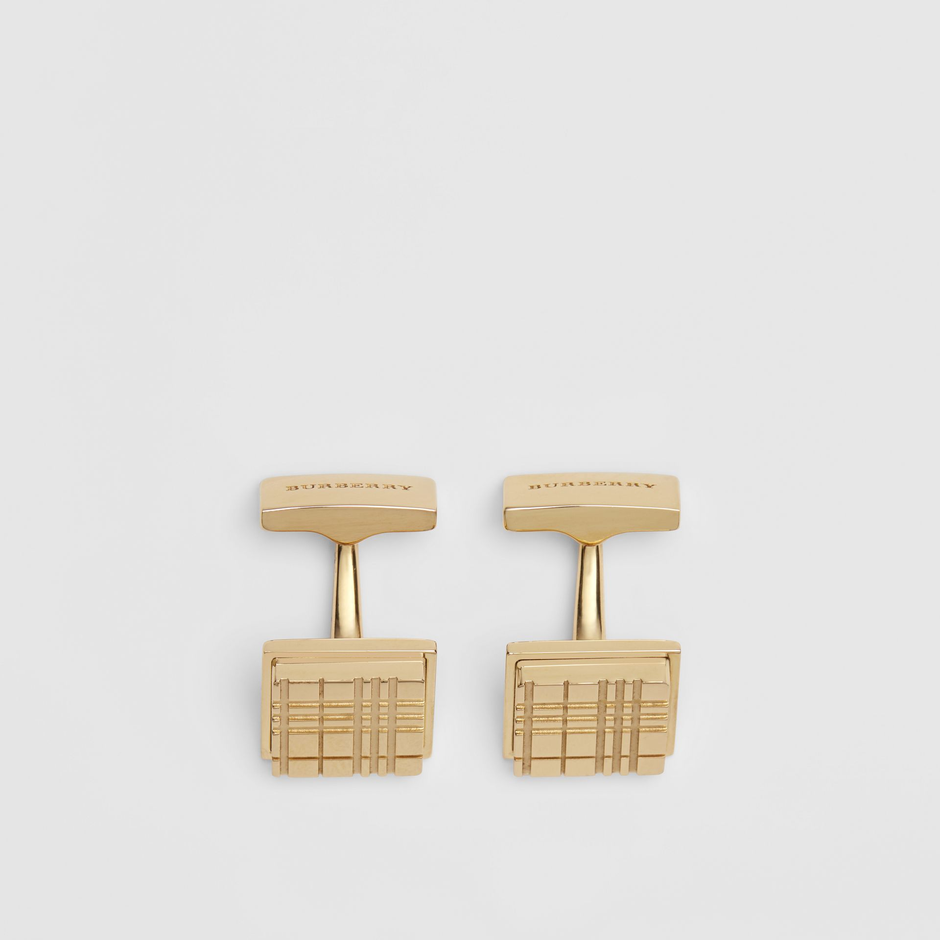 Check-engraved Square Cufflinks in Light Gold - Men | Burberry - gallery image 2