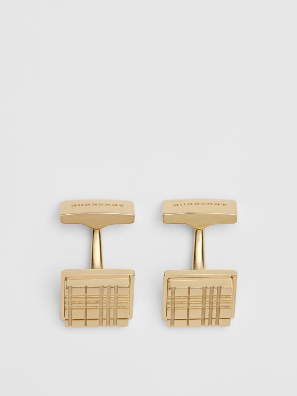 Check-engraved Square Cufflinks in Light Gold - Men | Burberry - cell image 2