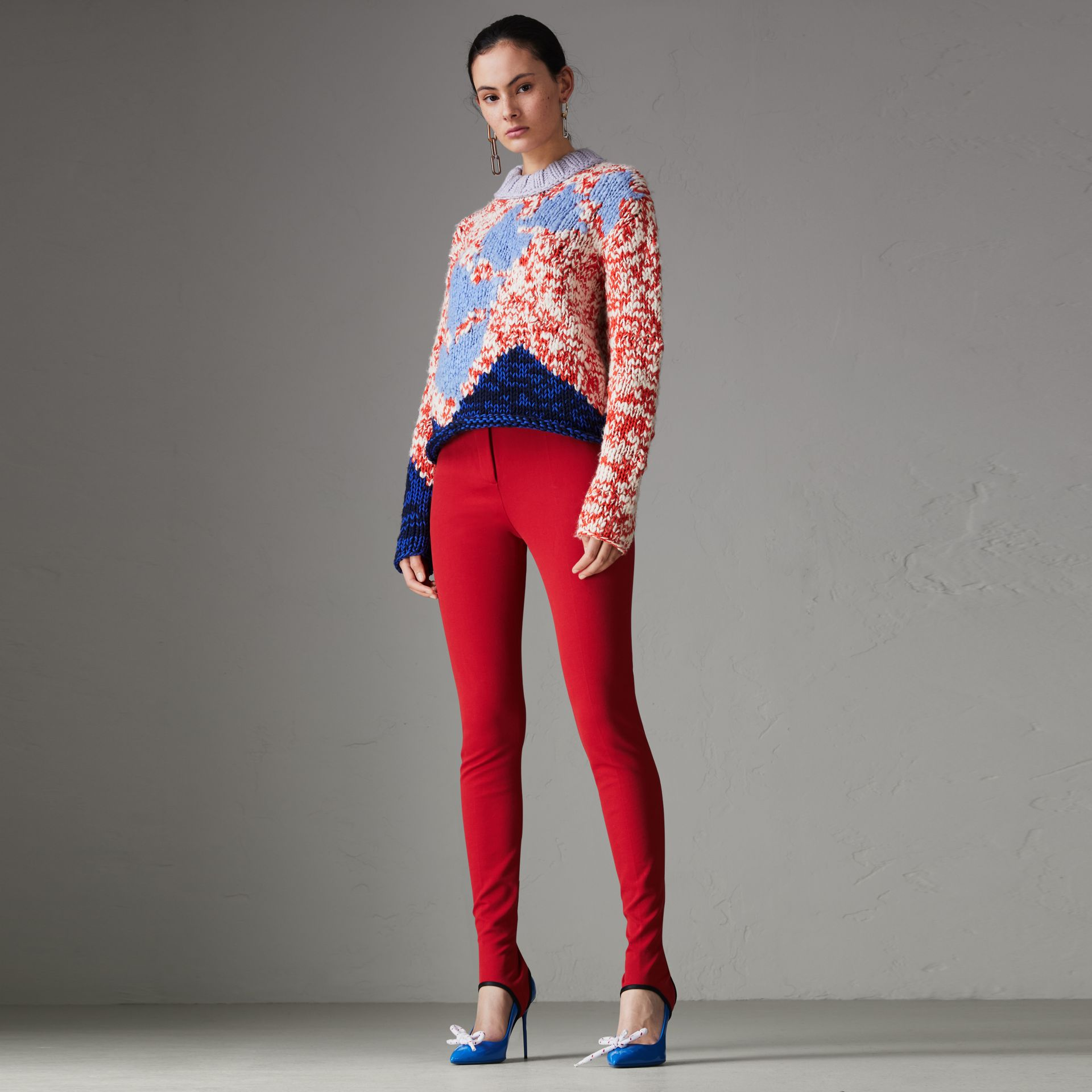 Chunky Knit Wool Blend Sweater in Bright Red - Women | Burberry - gallery image 0