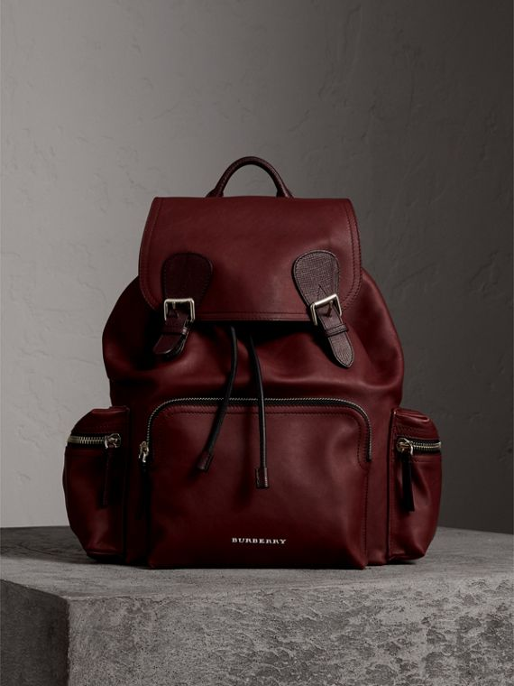 The Large Rucksack in Water-repellent Leather in Burgundy Red - Men | Burberry