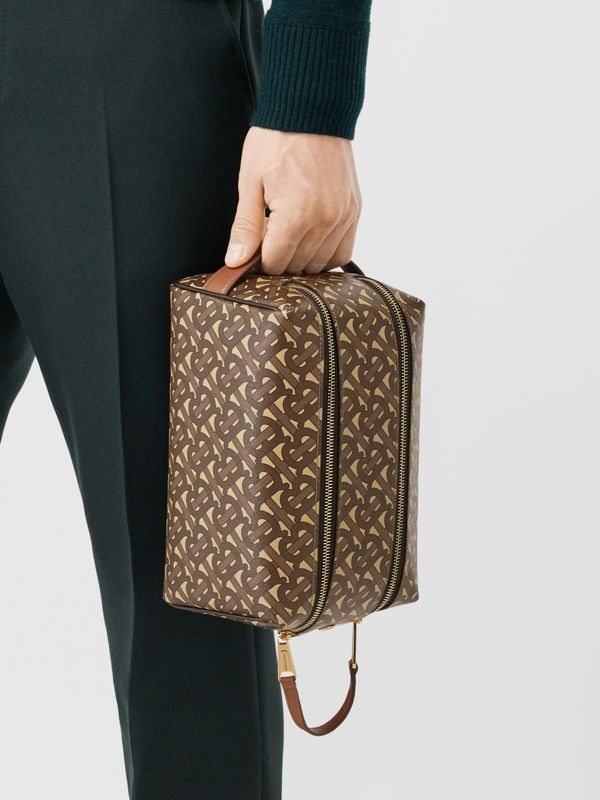 Monogram Print E-canvas Travel Pouch in Bridle Brown | Burberry Australia - cell image 3