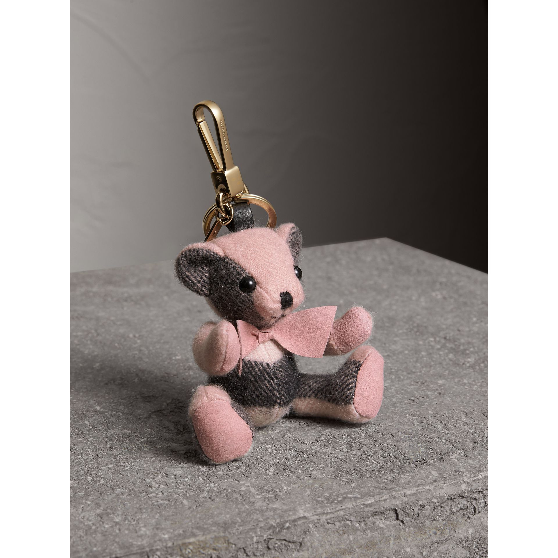 Thomas Bear Charm in Check Cashmere in Ash Rose | Burberry United States - gallery image 0