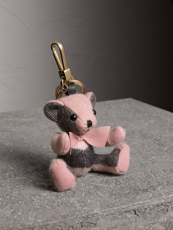 Thomas Bear Charm in Check Cashmere in Ash Rose