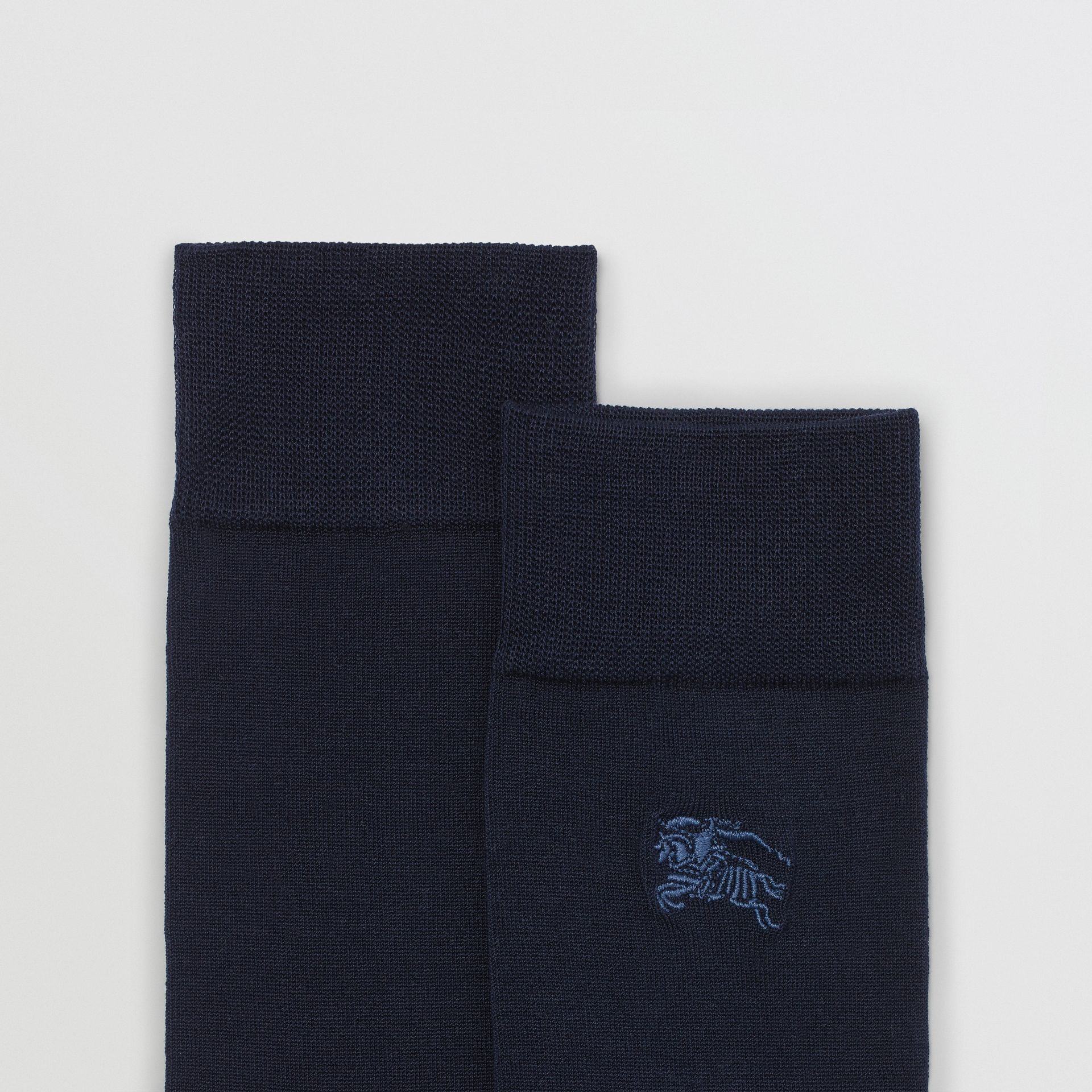 Embroidered EKD Cotton Blend Socks in Dark Navy | Burberry - gallery image 1