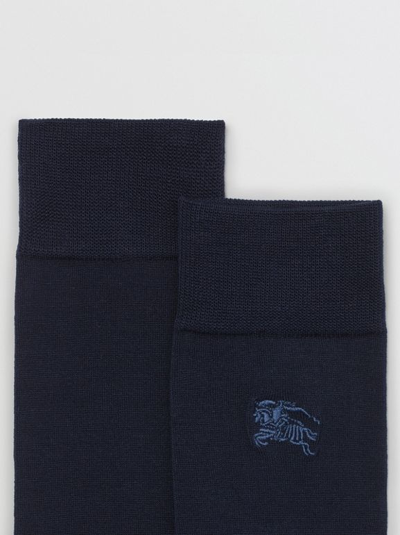 Embroidered EKD Cotton Blend Socks in Dark Navy | Burberry United Kingdom - cell image 1