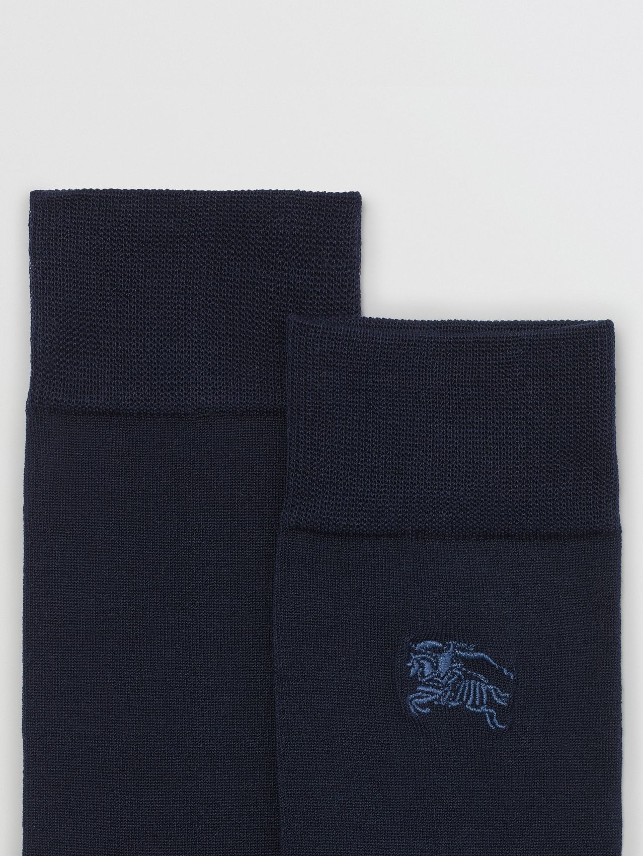 Embroidered EKD Cotton Blend Socks in Dark Navy
