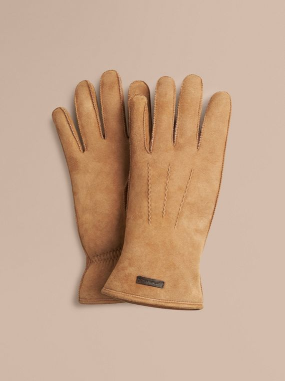 Shearling-lined Suede Gloves Flax Brown