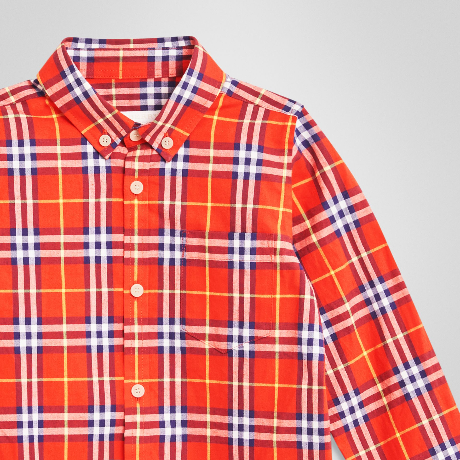 Button-down Collar Check Flannel Shirt in Orange Red - Boy | Burberry - gallery image 4
